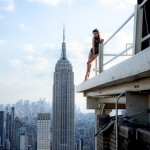 Scantily Clad Models Pose On Dangerous Edges Of Rooftops On New York Skyscrapers